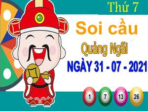 Soi cầu XSQNI ngày 31/7/2021 đài Quảng Ngãi thứ 7 hôm nay chính xác nhất